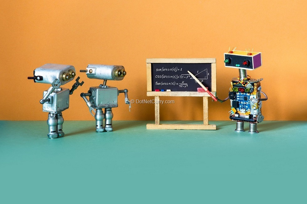 Artificial intelligence machine learning and robotics education concept. Robot teacher explains theory inverse trigonometric functions. College classroom interior with handwritten formula black chalkboard